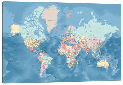 Detailed World Map With Cities In Pastel Colors, Vickie Canvas Art Print