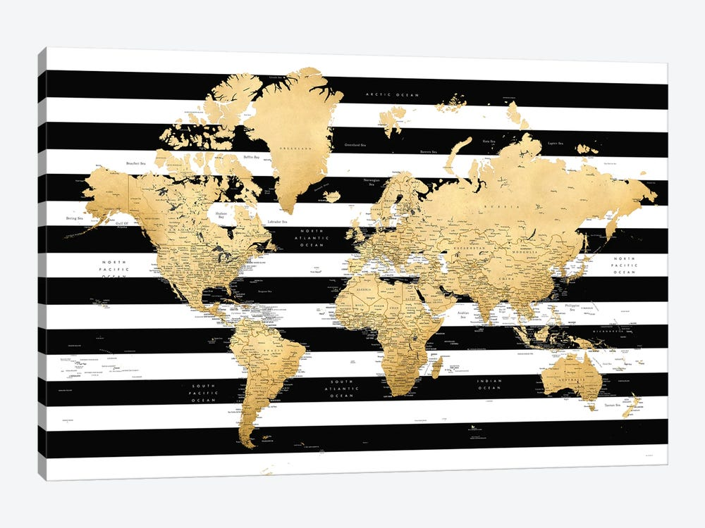 Detailed World Map With Cities And Black And White Stripes, Harper by blursbyai 1-piece Canvas Wall Art