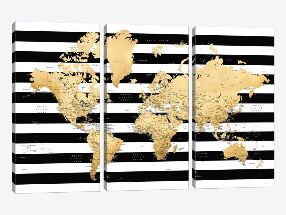 Detailed World Map With Cities And Black And White Stripes, Harper by blursbyai 3-piece Canvas Art