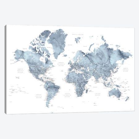 Detailed Watercolor World Map Lazer Canvas Print #RLZ431} by blursbyai Canvas Wall Art