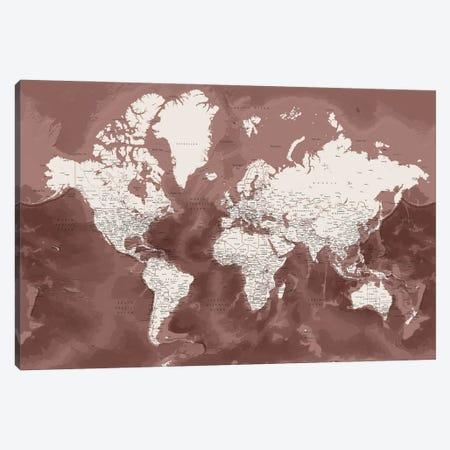 Detailed World Map In Marsala And Brown, Hikmat Canvas Print #RLZ433} by blursbyai Canvas Artwork