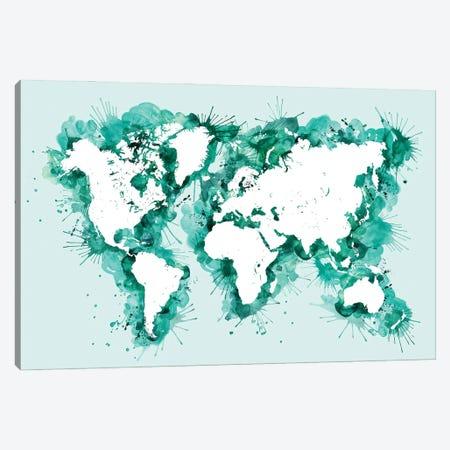 Teal Splatters World Map Canvas Print #RLZ437} by blursbyai Art Print