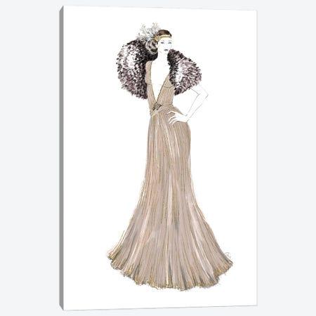 1920 Inspired Gown Fashion Illustration Canvas Print #RLZ43} by blursbyai Canvas Art Print