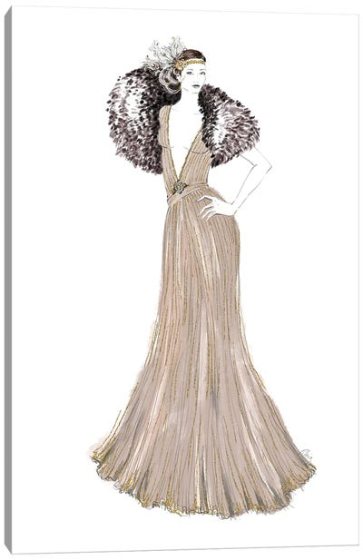 1920 Inspired Gown Fashion Illustration Canvas Art Print