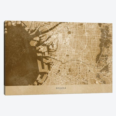 Sepia Vintage Map Of Osaka Japan Canvas Print #RLZ452} by blursbyai Canvas Wall Art