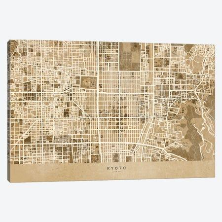 Sepia Vintage Map Of Kyoto Japan Canvas Print #RLZ454} by blursbyai Canvas Art Print