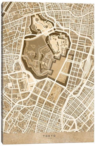 Sepia Vintage Map Of Tokyo Japan Canvas Art Print