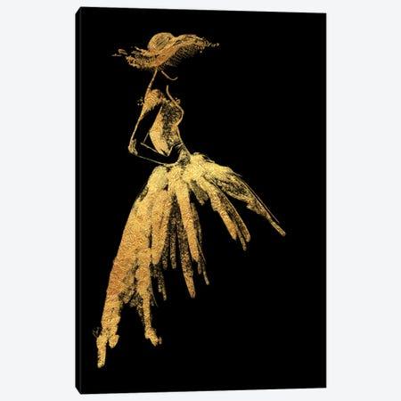 Full Skirt Fashion Illustration In Gold Canvas Print #RLZ48} by blursbyai Canvas Art Print
