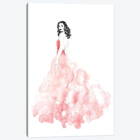 Coral Gown Fashion Illustration Canvas Print #RLZ50} by blursbyai Canvas Wall Art