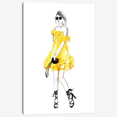 Yellow Sundress Fashion Illustration Canvas Print #RLZ51} by blursbyai Canvas Artwork