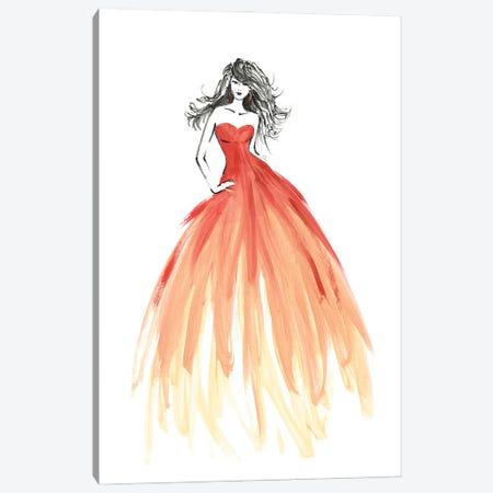 Coral Dress Fashion Sketch Canvas Print #RLZ52} by blursbyai Canvas Wall Art
