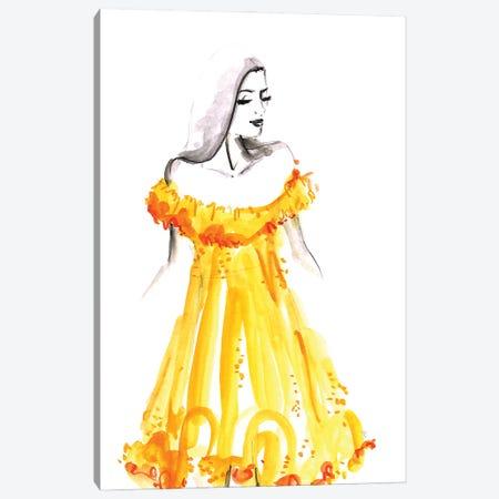 Yellow Summer Dress Fashion Illustration Canvas Print #RLZ53} by blursbyai Canvas Artwork