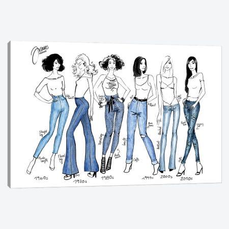 History Of Jeans Fashion Illustration Canvas Print #RLZ54} by blursbyai Canvas Art Print