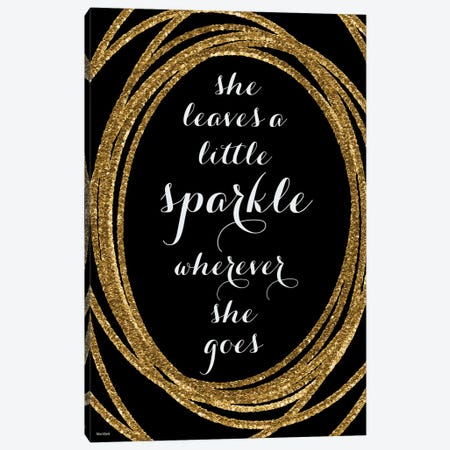 She Leaves A Little Sparkle In Gold And Black Canvas Print #RLZ62} by blursbyai Canvas Art Print