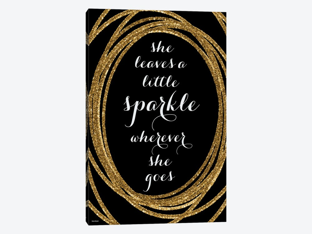 She Leaves A Little Sparkle In Gold And Black by blursbyai 1-piece Canvas Print