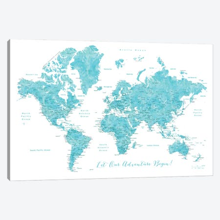 Detailed World Map With Cities Our Adventure Begins Canvas Print #RLZ65} by blursbyai Canvas Artwork