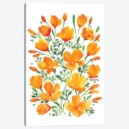 Watercolor California Poppies Canvas Print #RLZ71} by blursbyai Canvas Artwork