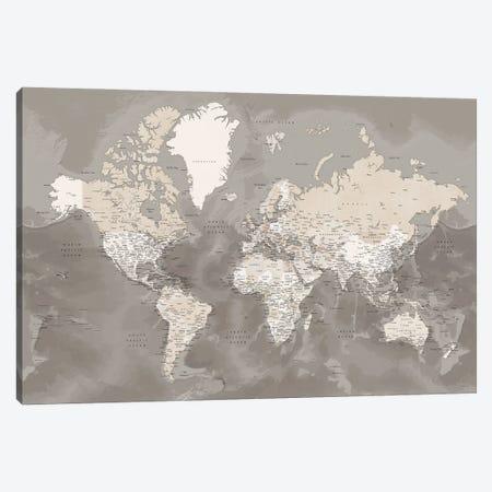Brown Detailed World Map With Cities, Davey Canvas Print #RLZ73} by blursbyai Canvas Artwork