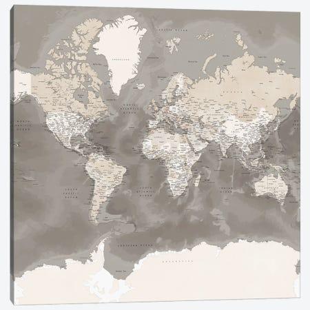 Detailed Brown World Map With Antarctica, Davey Canvas Print #RLZ74} by blursbyai Art Print