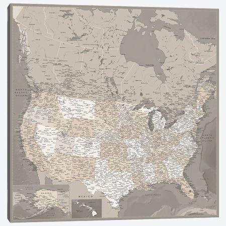 Detailed Map Of Usa And Canada, Davey Canvas Print #RLZ75} by blursbyai Art Print