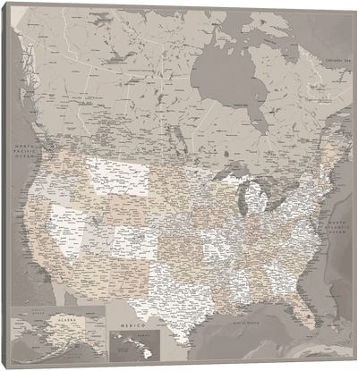Detailed Map Of Usa And Canada, Davey Canvas Art Print