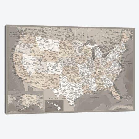 Detailed Brown Map Of The Usa, Davey Canvas Print #RLZ76} by blursbyai Art Print