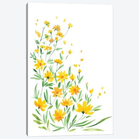 Yellow Watercolor Wildflowers Canvas Print #RLZ87} by blursbyai Canvas Artwork