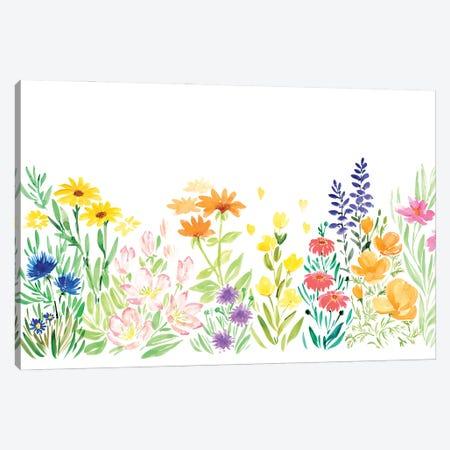 Colorful Watercolor Wildflowers Canvas Print #RLZ88} by blursbyai Canvas Art Print