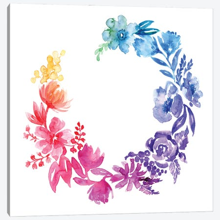 Rainbow Loose Florals Canvas Print #RLZ98} by blursbyai Canvas Artwork