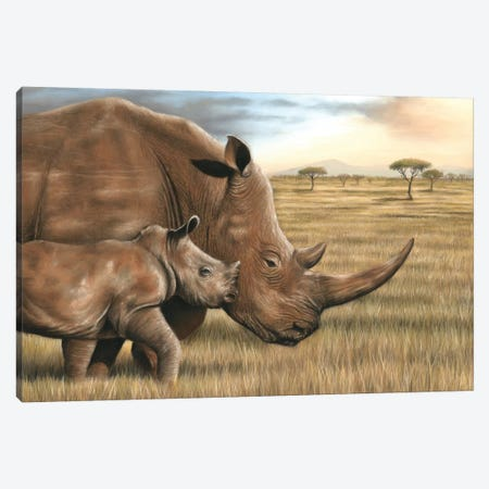 Rhino Canvas Print #RMC45} by Richard Macwee Canvas Wall Art