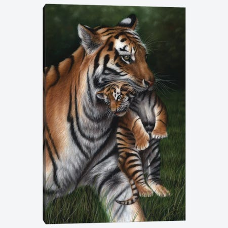 Tiger With Cub Canvas Print #RMC57} by Richard Macwee Canvas Art Print