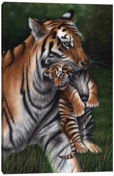 Tiger With Cub Canvas Art Print