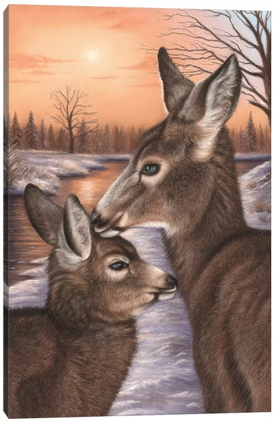 Deer And Fawn Canvas Art Print