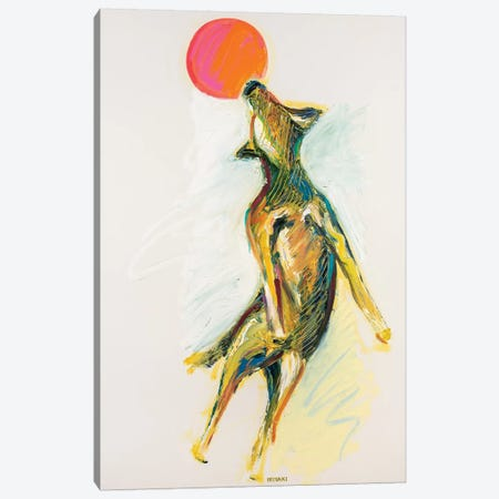 Dog And Frisbee Canvas Print #RMI6} by Russell Miyaki Canvas Wall Art