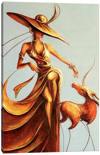 Lady And Unicorn Canvas Art Print