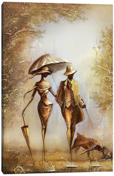 Walking On The Falling Leaves Canvas Art Print