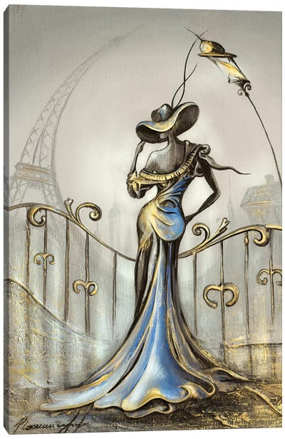 Women In Blue Dress Canvas Art Print