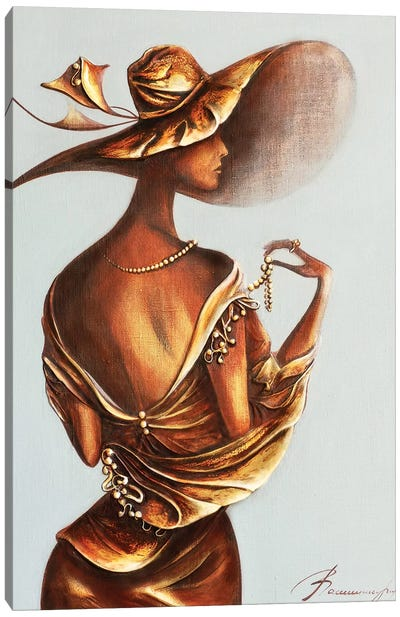 Women Wearing Pearl Beads Canvas Art Print