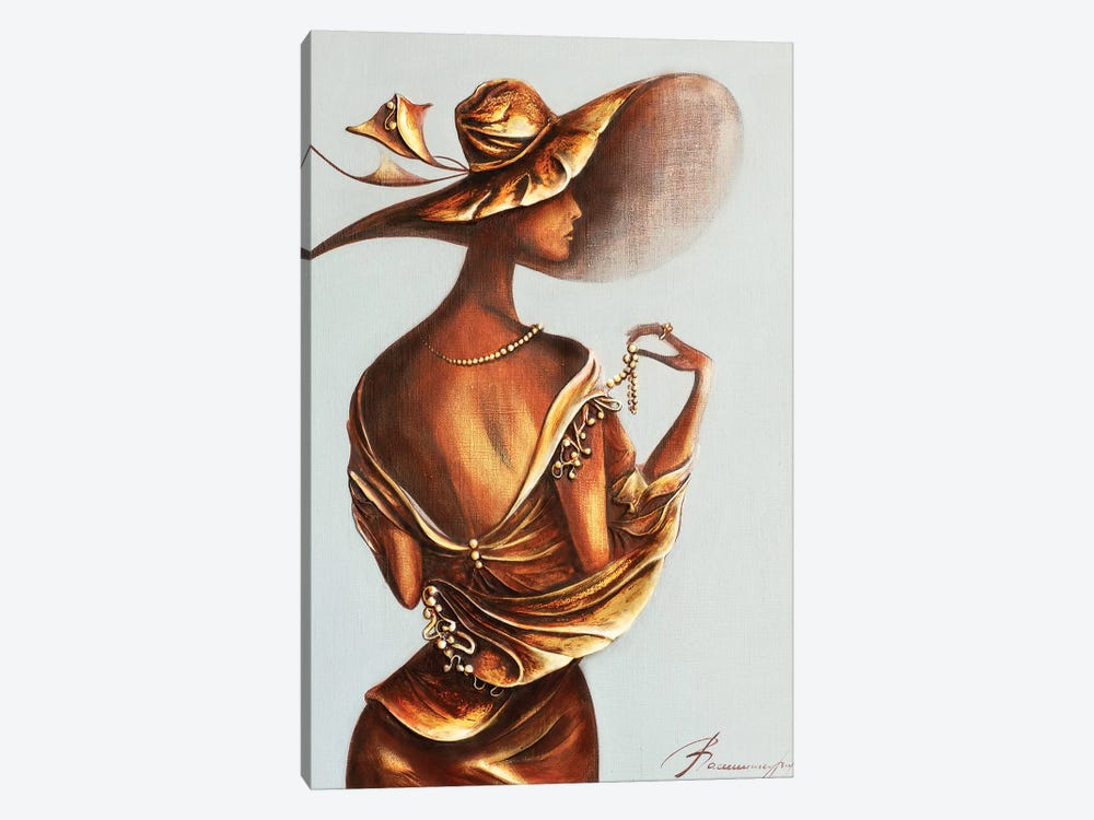 Women Wearing Pearl Beads by Raen 1-piece Canvas Print