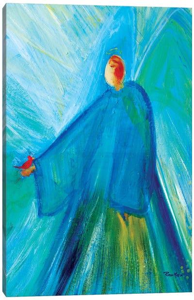 Benevolent Angel with Cardinal Canvas Art Print