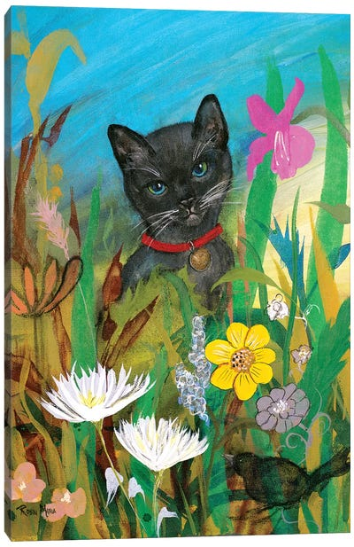 Cat in the Garden Canvas Art Print