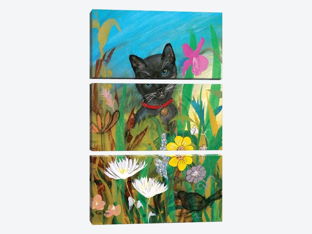 Cat in the Garden by Robin Maria 3-piece Canvas Art