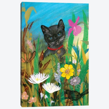 Cat in the Garden Canvas Print #RMR11} by Robin Maria Canvas Art Print