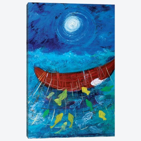 Miraculous Net of Fish Canvas Print #RMR20} by Robin Maria Canvas Art