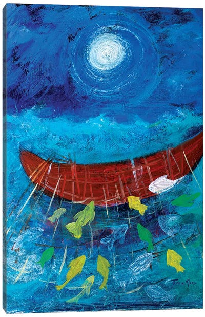 Miraculous Net of Fish Canvas Art Print