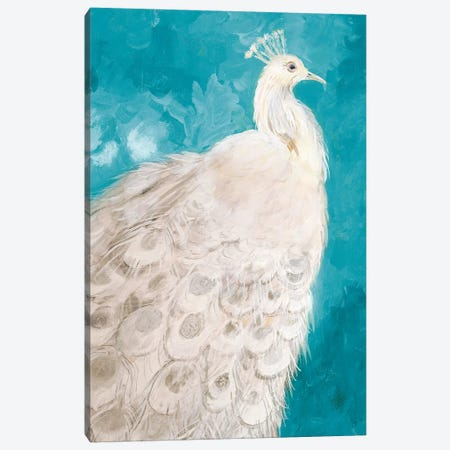 Royal Plume on Teal Canvas Print #RMR30} by Robin Maria Canvas Art Print