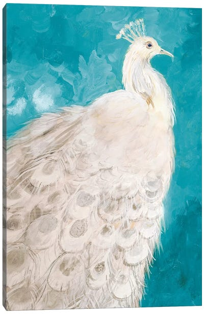 Royal Plume on Teal Canvas Art Print