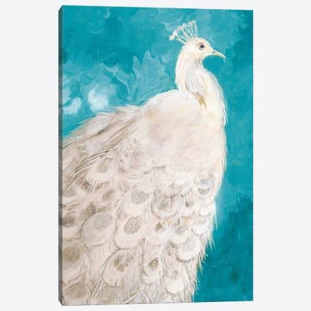 Royal Plume on Teal Canvas Print #RMR30} by Robin Maria Canvas Art Print