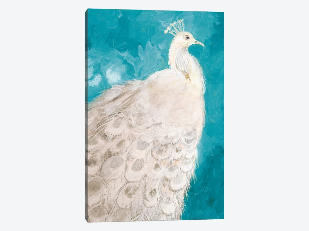 Royal Plume on Teal by Robin Maria 1-piece Canvas Art Print