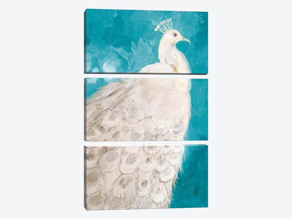 Royal Plume on Teal by Robin Maria 3-piece Canvas Art Print